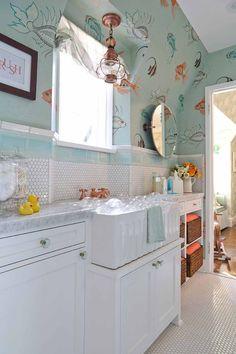 "Pasadena Showcase House of Design 2014: ""The Nursery Suite"" - Amy Peltier Interior Design & Home Bathroom Kids, Bathroom Wall Decor, Bathroom Colors, Bathrooms, Pool Bathroom, Eclectic Bathroom, Attic Bathroom, Small Bathroom, White Apron Sink"