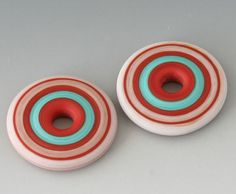Southwest Focal Discs  2 Handmade Lampwork Beads  Red by outwest, $11.00