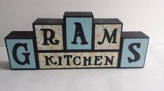 Wood Block Sign  Grams Kitchen  Blue White by ForeverYoursCreation