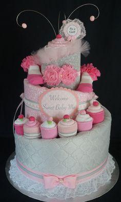 Cupcake Diaper Cake www.facebook.com/DiaperCakesbyDiana