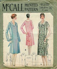 1928 McCall Printed Pattern Ladies' and Misses' Dress
