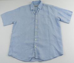 Orvis Blue Linen Shirt Size Large Short Sleeve Button Front  #Orvis #ButtonFront
