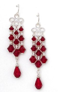 Siam Red Crystal Chandelier Earrings made with premium sterling silver clover links, sparkling Swarovski bicones and dangling teardrops. Wire Jewelry, Beaded Jewelry, Jewelery, Jewelry Findings, Jewelry Rings, Silver Jewelry, Jewelry Logo, Jewelry Model, Amber Jewelry