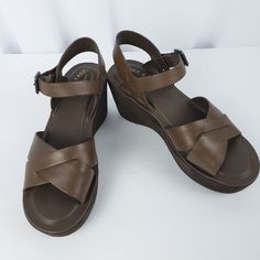 2f59df8369f Kork-Ease Leather Platform Wedge Sandals Size 8 Brown Ankle Strap Buckle  Close  KorkEase