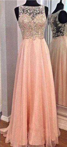 Pink Beaded Chiffon Long Prom Dress