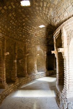 The hallway surrounding an early-Christian indoor baptism pool in Djemila, Algeria