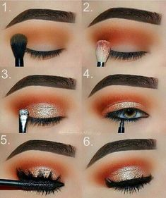 Makeup Tutorial: Orange and Gold Glam Eye Makeup Step by Step Tutorial -. - Makeup Tutorial: Orange and Gold Glam Eye Makeup Step by Step Tutorial – Top - Eyeshadow Step By Step, Makeup Tutorial Step By Step, Fall Makeup Tutorial, Eye Makeup Steps, Smokey Eye Makeup, Blue Eye Makeup, Gold Eyeshadow, Makeup Eyeshadow, Skin Makeup