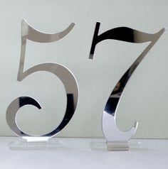 Silver Mirrored Acrylic Table Numbers Base by WeddingMonograms, $4.00