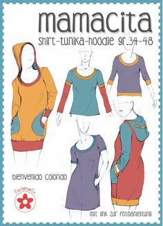 Mamacita ist auch als Kreativ-Ebook zum Selbstausdrucken HIER erhältlich. Mehrgrößenschnittmuster, Einzelgrößen: 34, 36, 38, 40, 42, 44, 46, 48 Alle Größen sind auf dem Schnittmusterbogen abgebildet. Ob als stylisches Shirt...