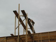 17. Improvised Scaffolding, Cranes & Jacks | Riversong HouseWright Wooden Scaffolding, Crane Construction, Wood Structure, Home Security Systems, Carpentry, Utility Pole, Building A House, Workshop, Ladder