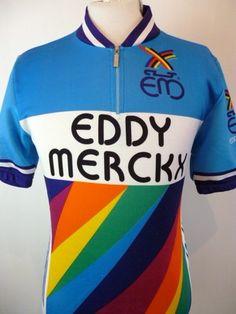 a7b963011 EDDY MERCKX VINTAGE RETRO RAINBOW CHAMPION BIKE TEAM CYCLING JERSEY TOP