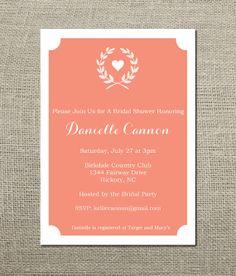 Laurel Wreath Wedding Shower Invitation by KellerCreative on Etsy,
