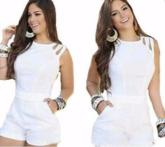 macacão macaquinho feminino curto panicat lindo Dope Fashion, Trendy Fashion, Womens Fashion, White Outfits, Casual Outfits, Pretty White Dresses, Chor, Western Outfits, Playsuits