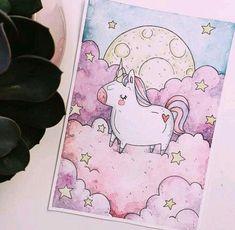27 Ideas For Watercolor Art Easy Draw Unicorn Art, Unicorn Painting, Cute Illustration, Unicorn Illustration, Painting & Drawing, Gouache Painting, Painting Canvas, Acrylic Canvas, Cute Drawings