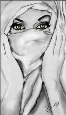 hijab by on DeviantArt Girl Drawing Sketches, Girly Drawings, Dark Art Drawings, Art Drawings Sketches Simple, Drawing Faces, Pencil Sketches Of Girls, Girl Sketch, Woman Drawing, Drawing Tips