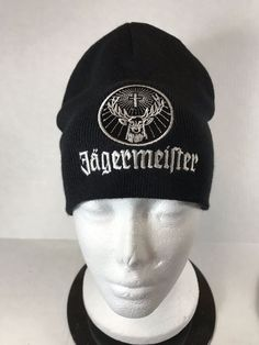 Jagermeister  Beanie Embroidered Logo Black Stretch Knit Winter  Hat Snow  Ski  eBay cd2451967299