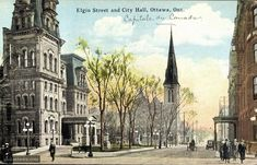 """fuckyeahcanadianhistory: """" Elgin Street, with with City Hall and Knox Church, Ottawa ca.1900 Source: Toronto Public Library """""""