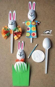 Osterhasen aus Plastiklöffeln basteln - DIY Bastelideen
