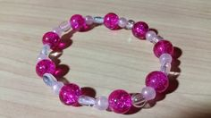 Beautiful bright pink! Pretty crackle beads will catch light from all angles. by tonispretties on Etsy