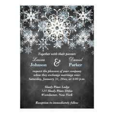This festive and trendy black and white chalkboard LOOK wedding invitation has layers of light blue and white snowflakes on it. It would be perfect for a winter wedding, Christmas wedding or bridal shower, a winter anniversary party or a winter ball or other event. It is shown here on basic paper. It is easily customized with your own information. There is customizable text that you can edit the way you require. ALSO, please note that everything will print as it appears on your monitor. ...