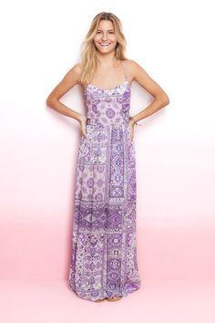 vestido longo estampado lilac