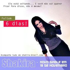 6 dias para o lançamento do novo single da Shakira!! 6 days untill the release of Shakira's new single!! #ShakiraIsComing #ShakiraBrasil #Shakira
