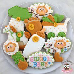 Gender Neutral Baby Shower Cookies, rattle cookies, owl cookies, sweet baby cookies, bottle cookies, baby feet cookies, pram cookies, jumpsuit cookies, onesie cookies, rockinghorse cookies
