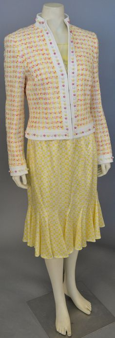 Lot 78: Escada three piece lot including women's tweed/novelty yarn jacket yellow, pink, and white with yellow Escada silk skirt and blouse. #Nadeausauction #Socialite #Luxury #Couture #Vintage #Fashion #Auction