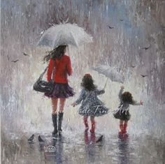 Rainy Day Walk With Mom Original Oil Painting by VickieWadeFineArt, $225.00