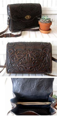 Vintage Tooled Leather Purse the middle one is closest to what I would want