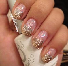 Pink And Gold Glitter Nail Art