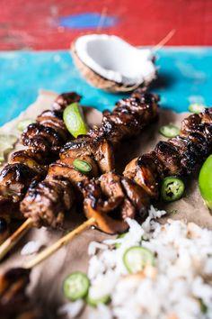 Coconut Honey Lime Filipino Chicken Adobo Skewers Carne Asada, Chicken Steak, Chicken Adobo, Chicken Skewers, Lime Chicken, Coconut Chicken, Chicken Bites, Coconut Milk, Grilling Recipes