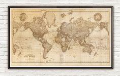 Beautiful World Map Vintage Atlas 1898 SEPIA
