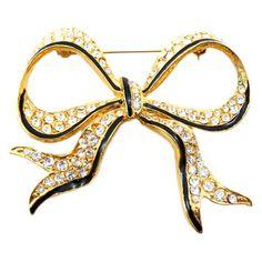 Gold Plated Enamel & Swarovski Crystal Large Bow Brooch
