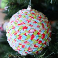 Don't throw away your old ornaments... upcycle them with fabric to match any color scheme!
