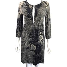 5c3d12634a6 Etro Black Tan Milano Keyhole Bead Drawstring Paisley Floral Print 3 4  Sleeve Night Out Dress Size 6 (S) 91% off retail