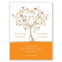 seasonal tree fall wedding save the date I autumn flourish with monogram and heart