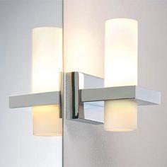 Applique de salle de bain 2 lumi¨res Led ROMENDO argentée en métal