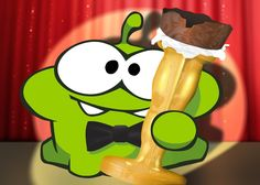 Om Nom with a chocolate Oscar... repin if you're excited for the Oscars!