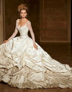 ERIKA - I LOVE THE SLEEVES ON THIS DRESS!!!  Eve Of Milady - Sweetheart Ball Gown in Silk Satin