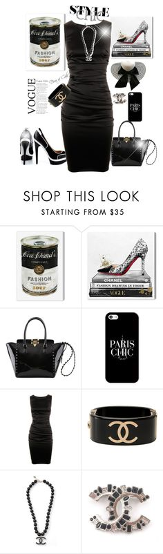 """""""Paris & Chanel  chic  NOIR ET BLANC"""" by Diva of Cake on  Polyvore featuring Oliver Gal Artist Co., Fendi, Valentino, Casetify, Dolce&Gabbana and Chanel"""