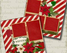 Winter - Christmas - 2 Premade Scrapbook Pages - EZ Layout 3528 Paper Bag Scrapbook, Christmas Scrapbook Layouts, Birthday Scrapbook, Scrapbook Kit, Scrapbook Sketches, Scrapbook Page Layouts, Scrapbook Supplies, Christmas Layout, Scrapbooking Ideas