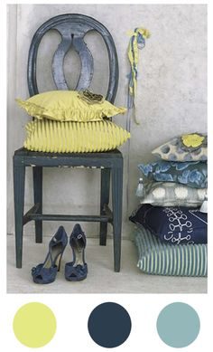 lovin' these colors...my house is grey and my doors are fixing to be this yellow and accents in blue ....can't wait