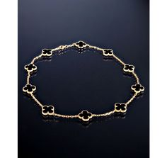 Van Cleef and Arpels onyx clover Alhambra Vintage necklace-                                           Darn! Sold out!
