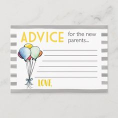 Shop Baby Shower Advice for New Parents created by BlueEyeDesigns. Baby Shower Advice, Baby Shower Favors, Baby Shower Games, Baby Shower Decorations, Baby Shower Invitations, Shower Ideas, Wedding Advice Cards, Wishes For Baby Cards, Personalized Note Cards