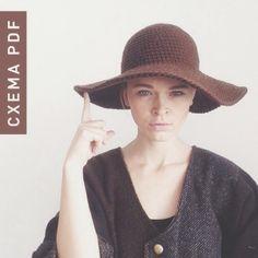 Схема Широкополая Шляпа PDF крючком - коричневый,шляпа,шляпа с полями