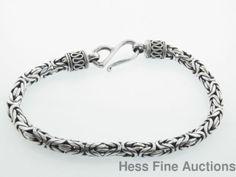 Vintage Sterling Silver 925 Byzantine Link S Hook Ladies Bracelet