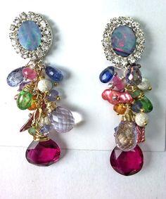 Australian Black Opal Earrings Colorful by DoolittleJewelry