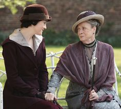Michelle Dockery as Lady Mary Crawley and Maggie Smith as Violet Crawley, Dowager Countess of Grantham in Downton Abbey (2011).