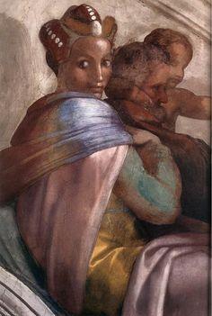 MICHELANGELO BUONARROTI - (1475 - 1564) - Sistine Chapel - Ancestors of Christ - Jacob-Joseph (detail).